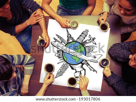 Composite image of landmarks of the world with airplane doodle on page with people sitting around table drinking coffee