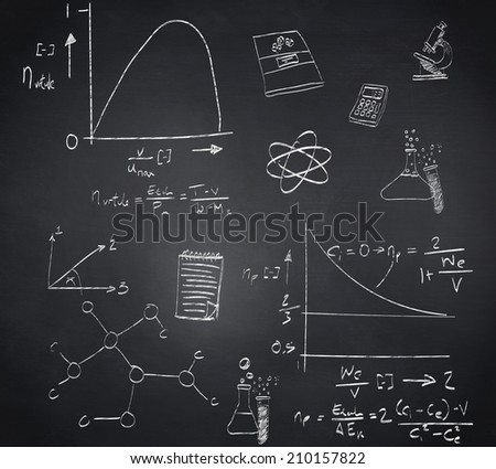 Composite image of math and science doodles against blackboard
