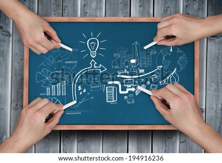 Composite image of multiple hands drawing brainstorm with chalk on wooden board - stock photo