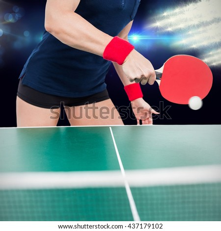 Composite image of ping pong player hitting the ball during a match