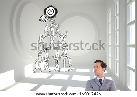 Composite image of serious businessman with arms crossed - stock photo