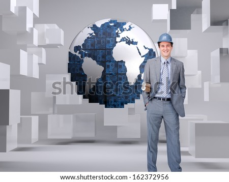 Composite image of smiling attractive architect on phone holding plans  - stock photo