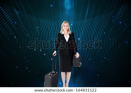 Composite image of smiling young businesswoman holding a black suitcase