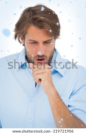 Composite image of Tanned man having a coughing fit with snow falling - stock photo