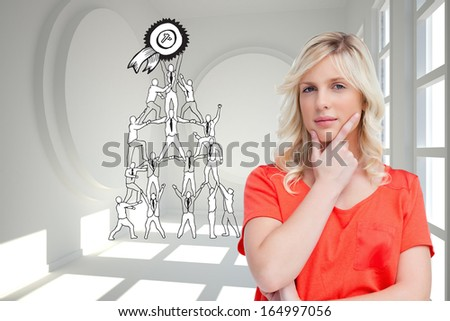 Composite image of teenager standing upright thoughtfully with her fingers on her chin - stock photo