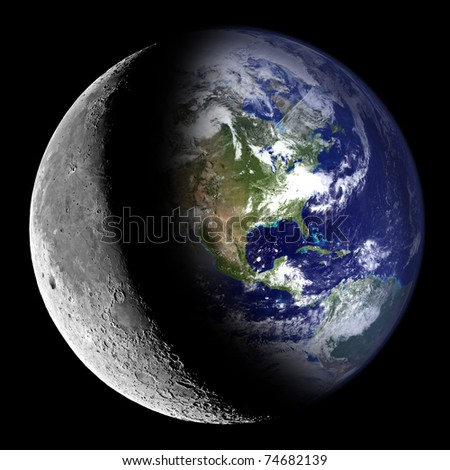 Composite image of the Earth and the Moon. - stock photo