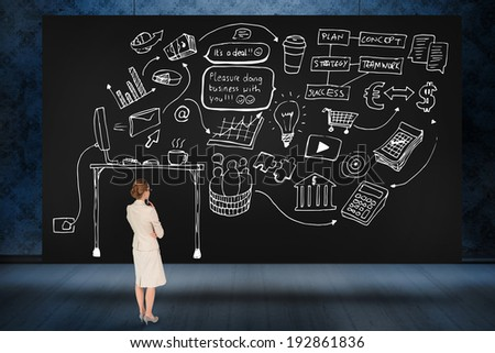 Composite image of thinking businesswoman against black card - stock photo