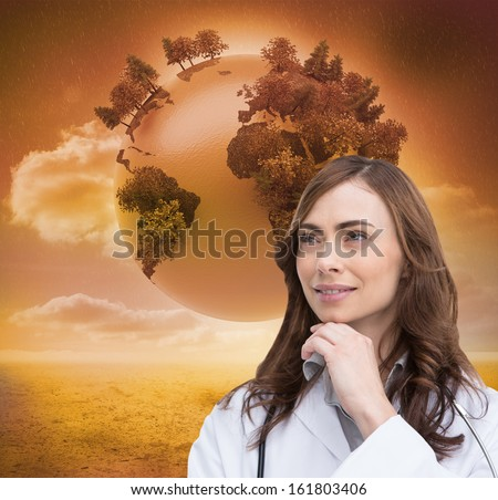Composite image of thoughtful brunette doctor looking away - stock photo