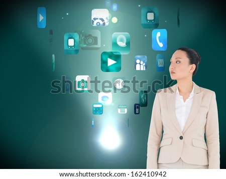 Composite image of unsmiling asian businesswoman - stock photo