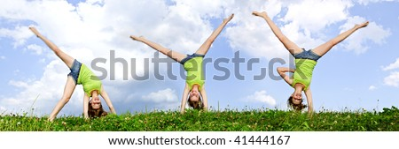 Composite image of young teenage girl doing cartwheel in a summer meadow