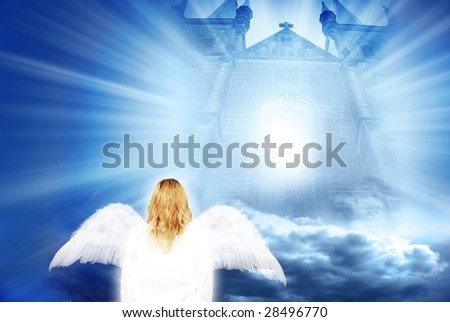 composite of a gate with clouds and divine light