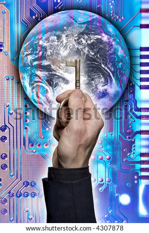 Composite of a hand holding a key with image of earth and a circuit board. - stock photo