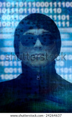 composite of a man wearing black sunglasses and hat with a technology binary background - stock photo
