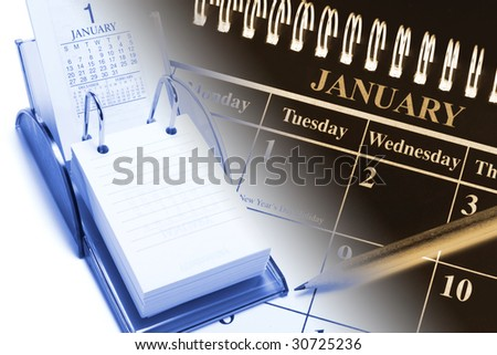 Composite of Calendars in Blue and Warm Tone