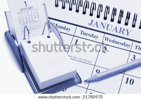 Composite of Calendars in Blue Tone