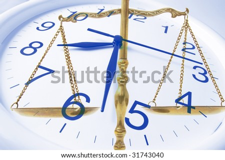 Composite of Clock and Brass Scale - stock photo