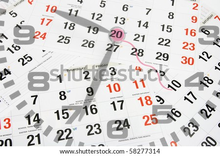Composite of Clock Face and Calendar Pages