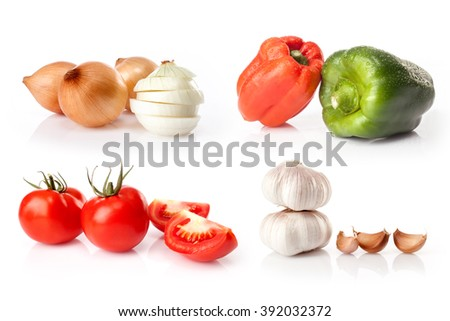 composite of fresh vegetables isolated on white background - stock photo