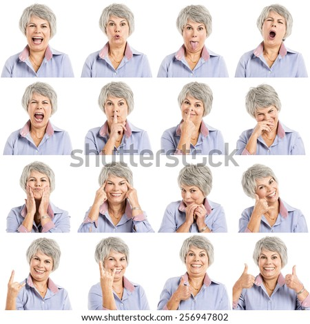 Composite of multiple portraits of a elderly woman in different expressions - stock photo