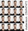 Composite of multiple portraits of the same man in different expressions - stock photo