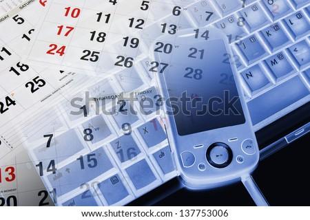 Composite of Smart Phone and Calendar - stock photo