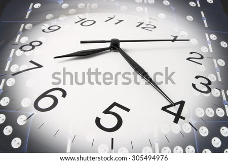 Composite of Wall Clock and Dominoes - stock photo