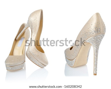 Composite photo of woman shoes isolated on white - stock photo