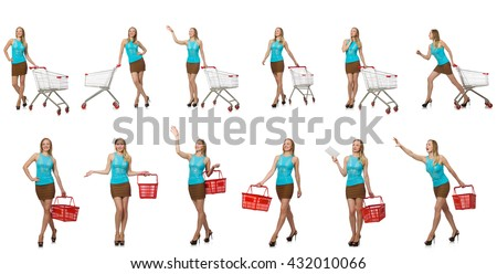 Composite photo of woman with shopping basket - stock photo