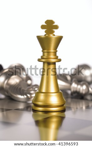 Composition from chessmen on a light background - stock photo