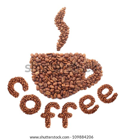 Composition from coffee grains. Concept and idea - stock photo