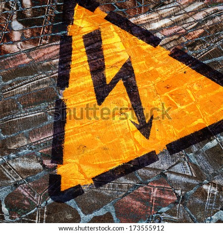 composition of a hazard warning sign on a grunge background