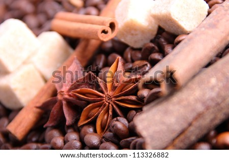 Composition of anise, cinnamon, cane sugar and coffee beans - stock photo