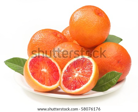 composition of blood oranges on a plate, isolated on white, clipping path provided - stock photo