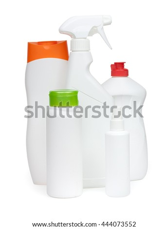 composition of bottles and spray cleaners household chemicals - stock photo