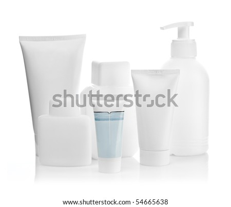 composition of bottles and tubes for care - stock photo