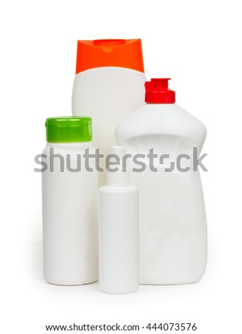Composition of bottles of cleaners household chemicals isolated on a white background  - stock photo