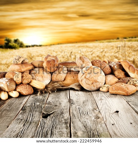 composition of bread and free space for you  - stock photo
