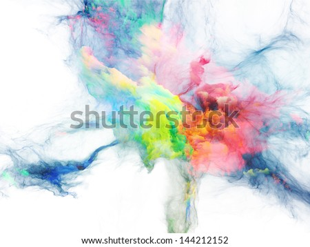 Composition of bursting strands of fractal smoke and paint suitable as a backdrop for the projects on design, science, technology and creativity - stock photo