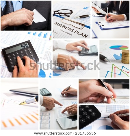Composition of business related images - stock photo