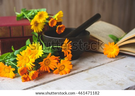 composition of calendula, books, cast-iron mortar on the table