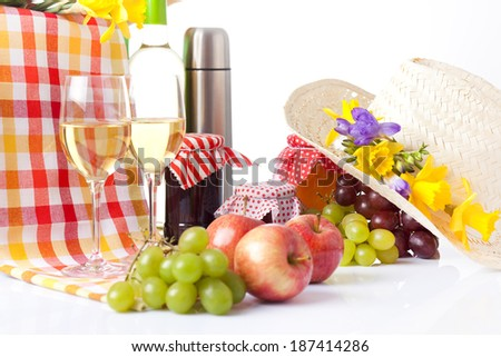 Composition of cheese, grapes, bottles and glasses of wine
