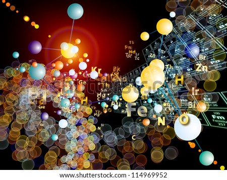 Composition of chemical icons, fractal graphics and design elements suitable as a backdrop for the projects on chemistry, biology, pharmacology and modern science