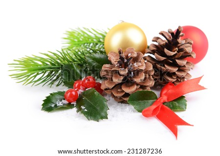 Composition of Christmas decorations isolated on white - stock photo