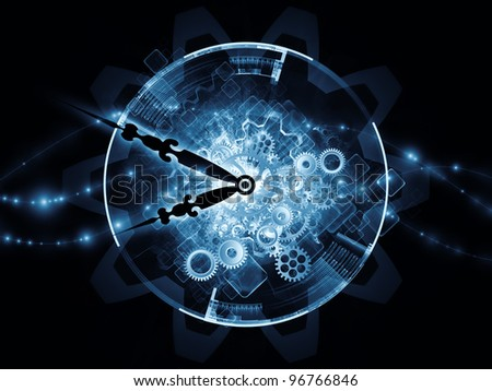 Composition of clock hands and technological elements  as a concept metaphor for time sensitive technological process - stock photo