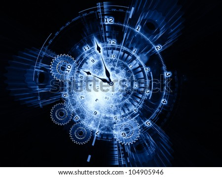Composition of clock hands, gears, lights and numbers as a concept metaphor on subject of time sensitive issues, deadlines, scheduling, computational processes, past, present and future - stock photo