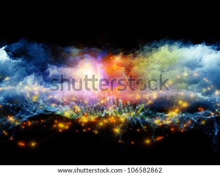 Composition of clouds of fractal foam and abstract lights as a concept metaphor on subject of art, spirituality, painting, music , visual effects and creative technologies - stock photo