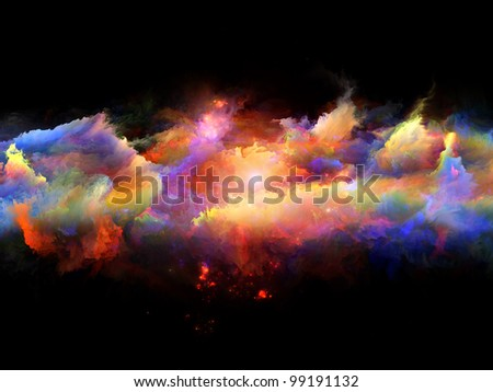 Composition of clouds of fractal foam and abstract lights as a concept metaphor on subject of art, spirituality, painting, music , visual effects and creative technologies