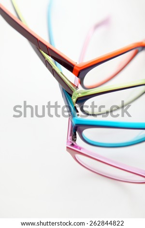 composition of colored glasses - stock photo