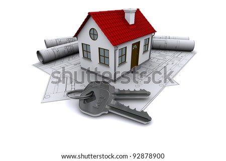 Composition of construction drawings, models at home with red roof and keys. 3D rendering - stock photo