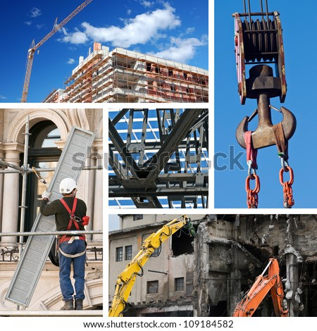Composition of construction objects and concepts - stock photo